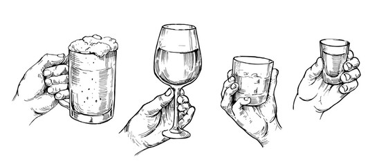 Obraz Hand holds alcohol glasses: tequila, beer, whiskey, wine. Hand drawn illustration converted to vector. Isolated on white background - fototapety do salonu