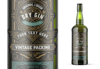 Vintage Gin Label Packaging Layout