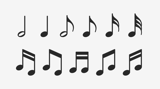 Music notes icons set. Musical key signs. Vector symbols on white background.