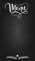 Blackboard menu card - design for Bars, restaurants, flyers, cards, invitations, stickers, banners. Hand painted brush pen modern calligraphy isolated on black background.