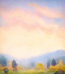Watercolor landscape. Sunset over the mountains