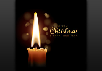 Christmas Flyer Layout with Candle Image