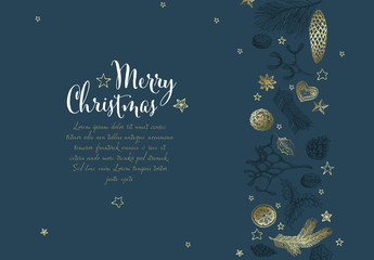 Christmas Flyer Layout with Handdrawn Elements