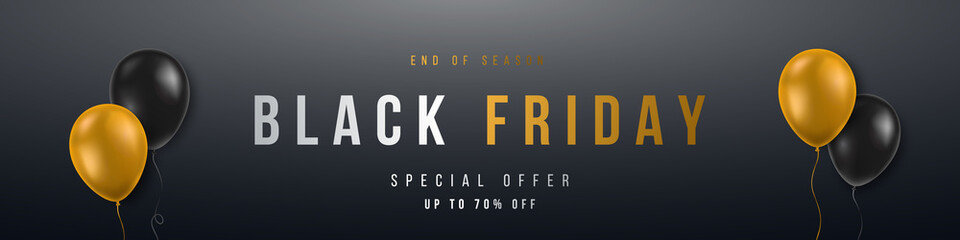 Long Horizontal Black Friday Sale Banner. Design concept for big discount of the year. 3d yellow and black realistic balloons on dark background. Stock vector illustration.