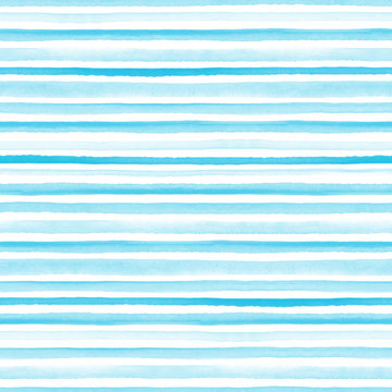 Seamless light blue watercolor pattern on white background. Watercolor seamless pattern with lines and stripes.