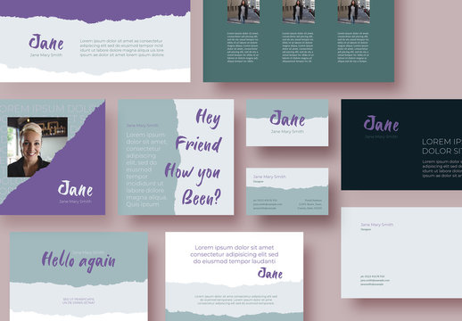 Purple and Green Stationery Layout Set
