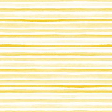Seamless yellow watercolor pattern on white background. Watercolor seamless pattern with lines and stripes.