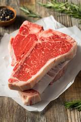 Wall Mural - Raw Red Grass Fed T Bone Steak