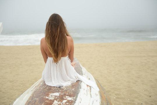 Bohemian Nautical Girl Alone On Beach