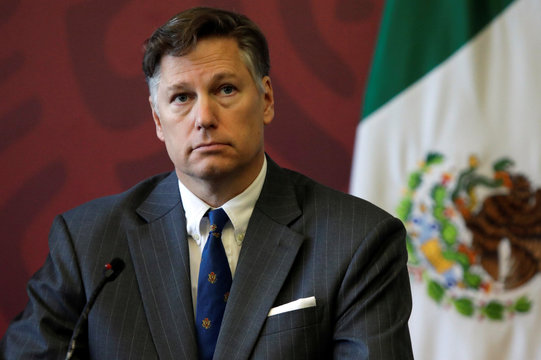 Christopher Landau, U.S. Ambassador to Mexico, looks on during the signing of a letter of interest to support critical energy Infrastructure in Southern Mexico, in Mexico City