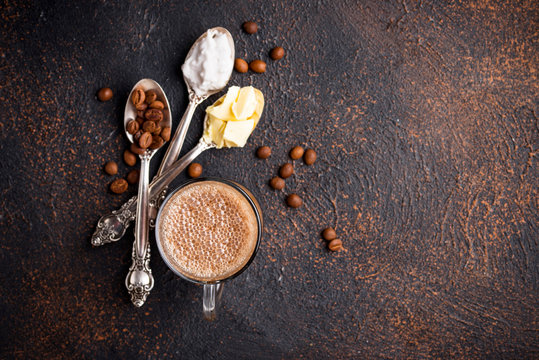Bulletproof coffee. Ketogenic low carb drink