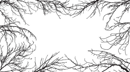 Background of silhouettes of branches of different trees. In the center is space for text. Applied clipping mask, each branch is separate, so you can change.