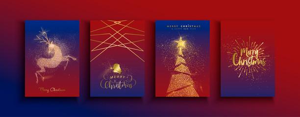 Wall Mural - Christmas New Year gold glitter reindeer card set