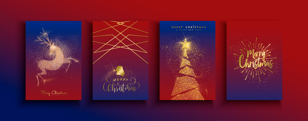 Christmas New Year gold glitter reindeer card set