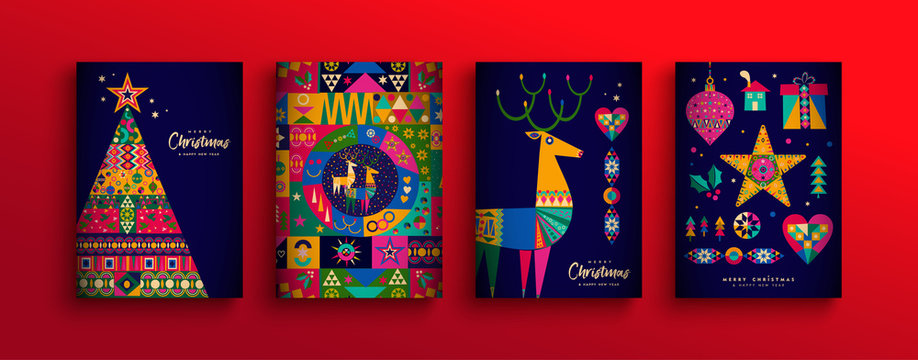 Christmas New Year colorful nordic folk card set