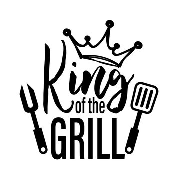 King of the grill vector file. Barbeque party. Father's Day decor. BBQ image. Isolated on transparent background.