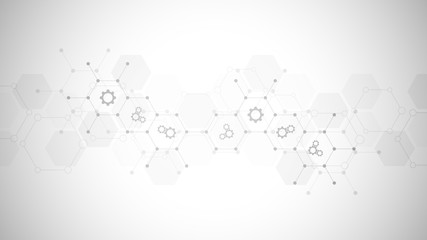 Abstract technical background with gears and cogs icons. Template design for innovation technology. - fototapety na wymiar