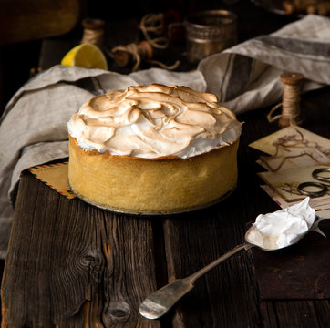 lemon tart with shortbread crust and whipped meringue on top