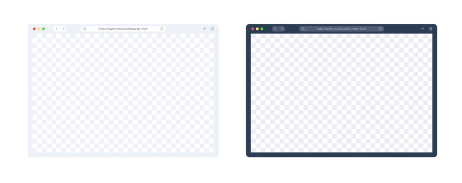Web browser template set in light and dark mode for computer, laptop, tablet and mobile. Empty internet page for showing ur site presentation. Vector browser page isolated on white.