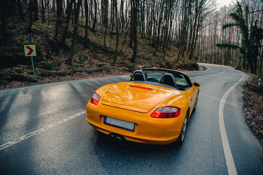 Yellow sports car in the woods