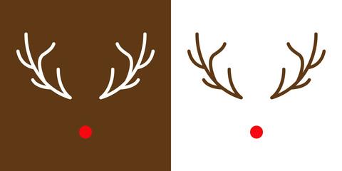 Icono navideño con nariz y astas de reno Rodolfo con color rojo y en fondo blanco y marrón