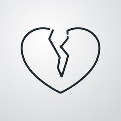 Icono lineal símbolo divorcio con corazón roto en fondo gris