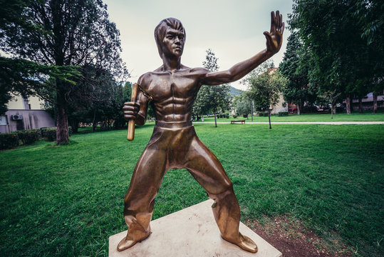 Mostar, Bosnia and Herzegovina - August 25, 2015. Bruce Lee statue in Mostar city park