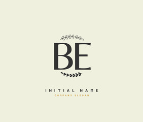 B E BE Beauty vector initial logo, handwriting logo of initial signature, wedding, fashion, jewerly, boutique, floral and botanical with creative template for any company or business.