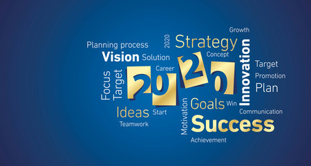 Success New Year 2020 gold white word cloud blue background