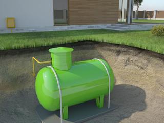 Underground gas tank, 3D illustration