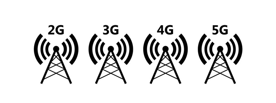 Network coverage level symbol 2. Network level on mobile devices. Network 2G (E), 3G, 4G, 5G icon isolated on white background. Vector EPS 10
