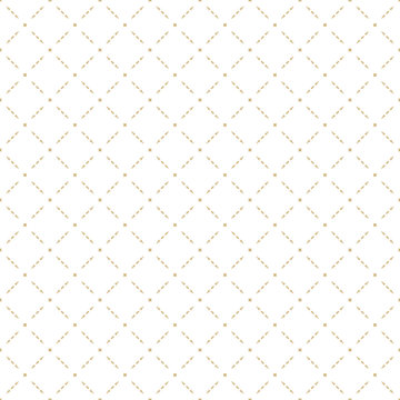 Golden abstract geometric seamless pattern in oriental style. Luxury vector background. Simple graphic ornament. White and gold texture with squares, diamond shapes, grid, lattice, net, repeat tiles