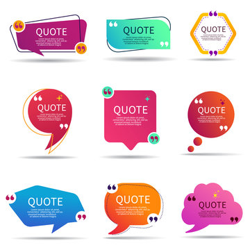 Set of speech quote text box of gradient color. Template of geometric badge with circle shape. Remark dialog, citation bubble for promotion. Textbox frame and quotation for information. vector