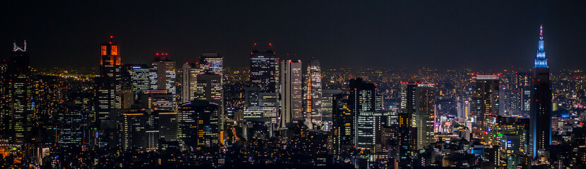 Poster Tokyo 東京都市風景 新宿の夜景 Night view of Shinjuku Japan