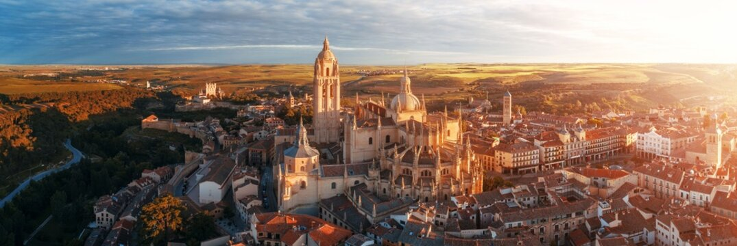 Segovia Cathedral aerial panorama view sunrise