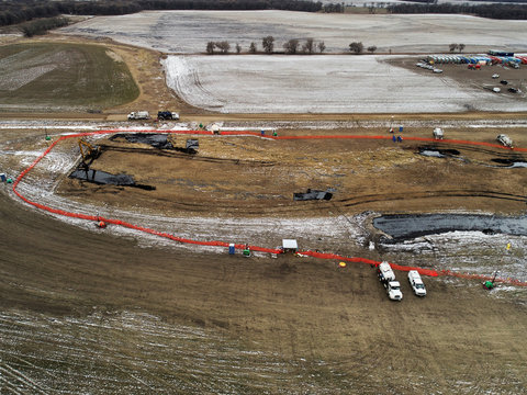 Oil spilled from a section of the Keystone pipeline is seen in Walsh County, North Dakota