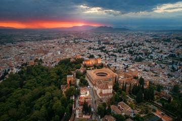 Granada Alhambra aerial view sunrise