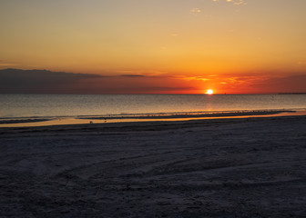 Deeply color sunset over the Gulf of Mexico on Fort Myers Beach