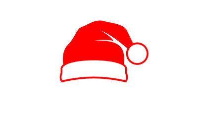 Red Santa hat vector icon illustration with isolated white background