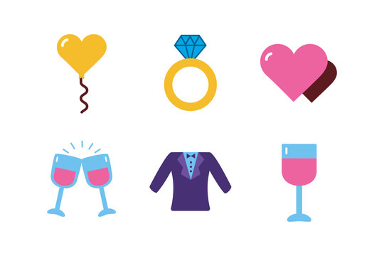 Isolated wedding and love flat icon set vector design