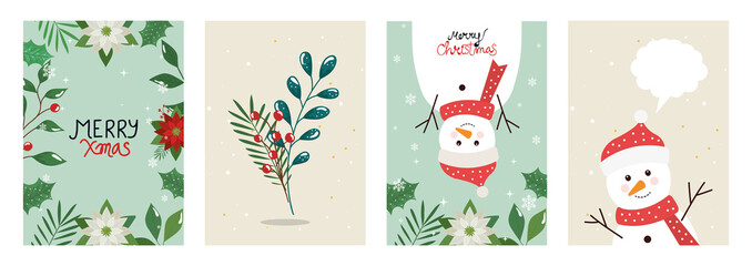set poster of merry christmas with leafs and snowmen vector illustration design