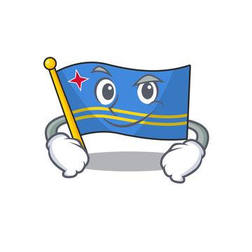 cute smirking aruba flag with character shape