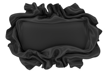 Abstract black wavy satin or silk fabric with folds on the sides and a smooth surface in the center. 3d rendering image.