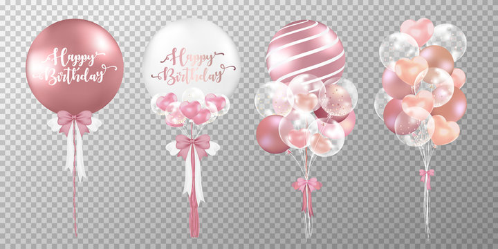 Set of rose gold balloons on transparent background. Realistic glossy pink balloons vector illustration. Party balloons decorations wedding, birthday, celebration and anniversary card design.