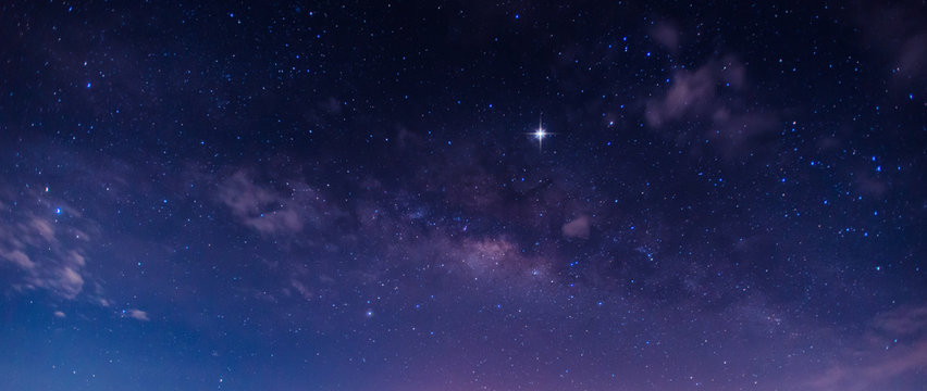 Panorama blue night sky milky way and star on dark background.Universe  galaxy with noise and grain.Photo by long exposure and select white balance.selection focus.amazing