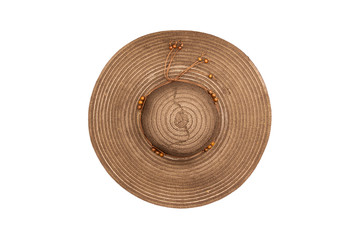 straw hat isolated on a white background. Top view.