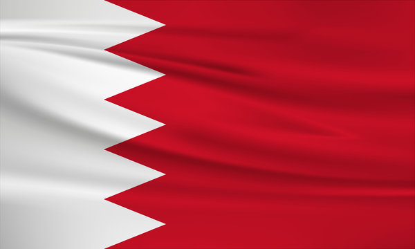 Illustration of a waving flag of the Bahrain