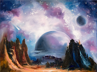 Photo sur Aluminium Lavende Space alien landscape, hand drawn oil painting.