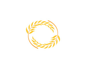 Agriculture wheat rice icon Template vector design