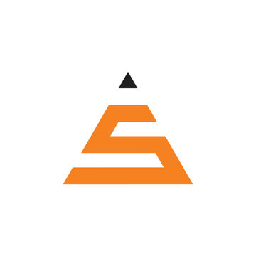 letter s triangle pencil geometric logo vector
